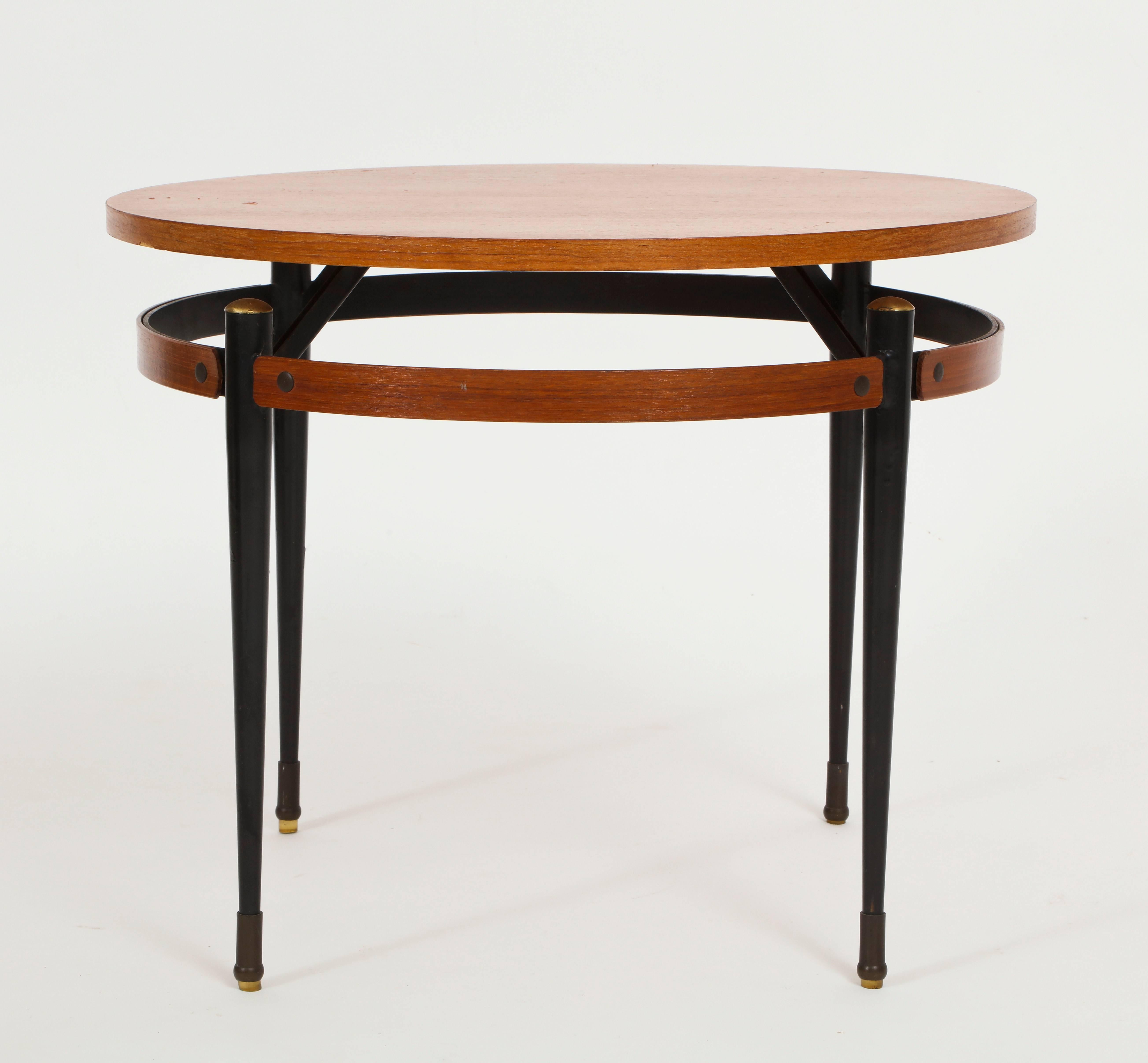 Italian Ponti Style Round Side Table With Metal Legs, Italy, 1950, Mid