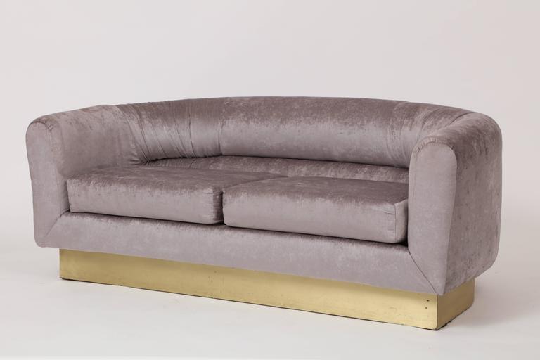 20th Century Milo Baughman Thayer Coggin Attributed Velvet Grey Settee Sofa Brass Plinth For Sale