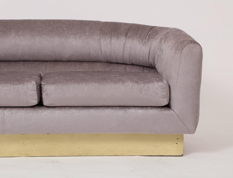Mid-Century Modern Milo Baughman Thayer Coggin Attributed Velvet Grey Settee Sofa Brass Plinth For Sale