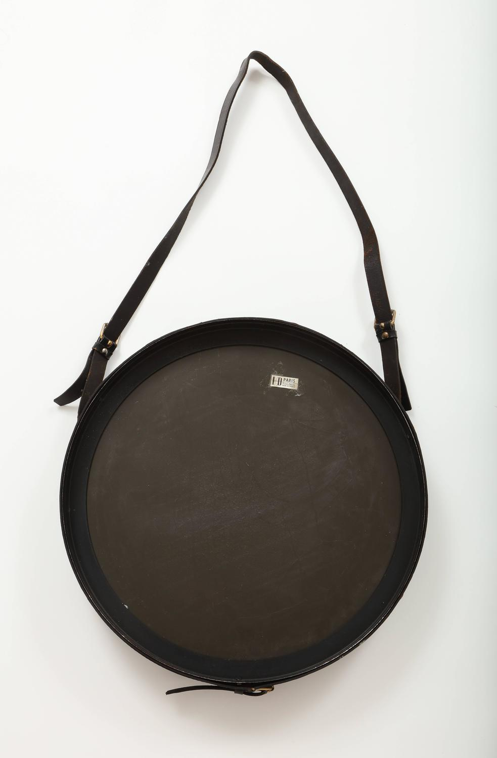 Authentic mid century jacques adnet leather round wall for Round black wall mirror