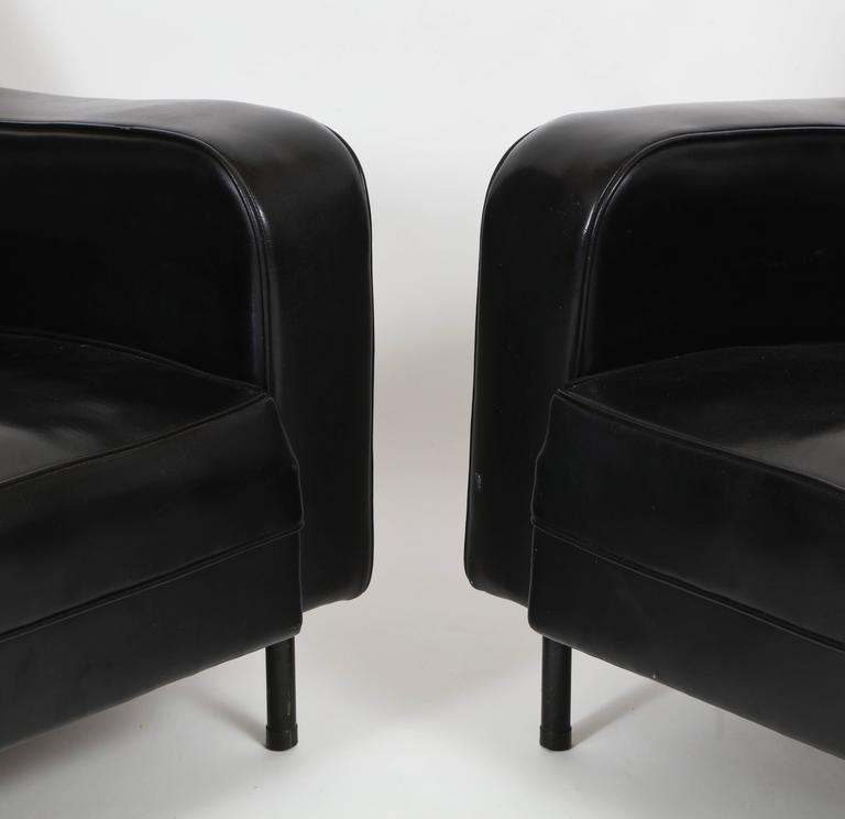 pair of guariche attr airborne 1950 black faux leather chairs mid