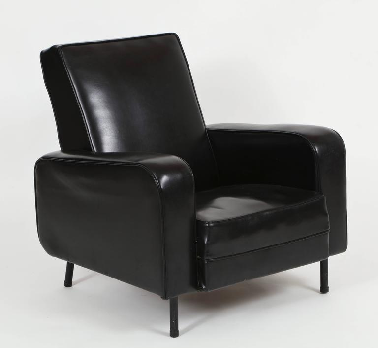 Mid Century Modern Pair Of Guariche Attr Airborne 1950 Black Faux Leather  Chairs Mid