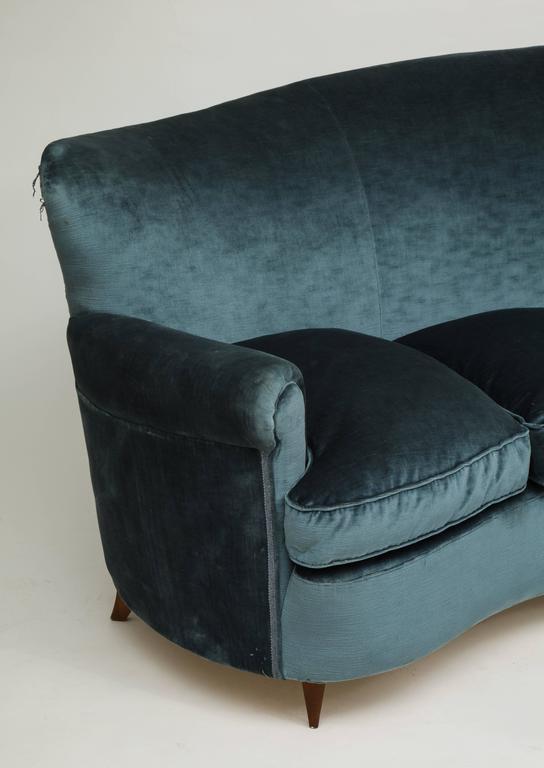 Italian Mid Century 1950s Vintage Curved Blue Velvet Sofa With Down Cushions  3