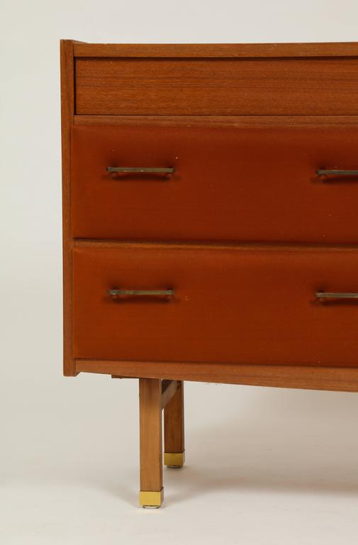Roger Landault Midcentury Rust Teak Brass Vanity Commode French Modernist, 1960  For Sale 1