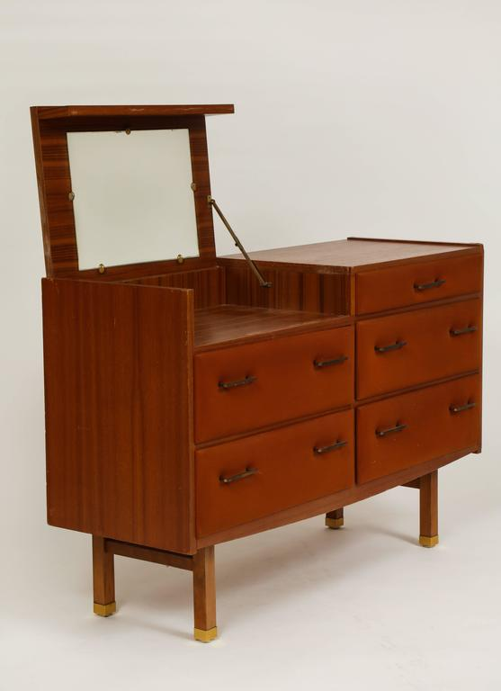 Mid-Century Modern Roger Landault Midcentury Rust Teak Brass Vanity Commode French Modernist, 1960  For Sale