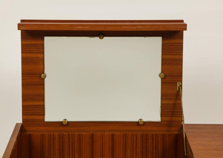 Roger Landault Midcentury Rust Teak Brass Vanity Commode French Modernist, 1960  In Good Condition For Sale In New York, NY