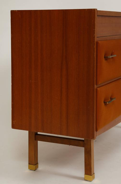 Mid-20th Century Roger Landault Midcentury Rust Teak Brass Vanity Commode French Modernist, 1960  For Sale