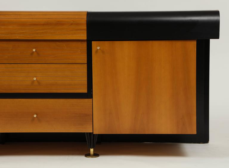 Pierre Cardin Sideboard Buffet Dresser Black Brown Wood Brass Detail 1980s-1990s In Good Condition For Sale In New York, NY
