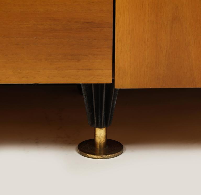 Late 20th Century Pierre Cardin Sideboard Buffet Dresser Black Brown Wood Brass Detail 1980s-1990s For Sale