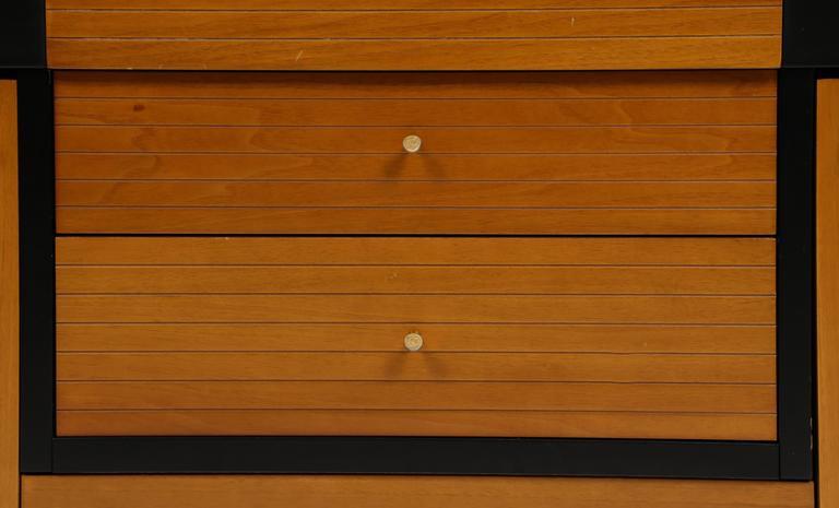 Pierre Cardin Sideboard Buffet Dresser Black Brown Wood Brass Detail 1980s-1990s For Sale 1