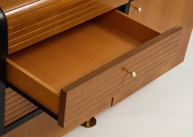 Pierre Cardin Sideboard Buffet Dresser Black Brown Wood Brass Detail 1980s-1990s For Sale 2