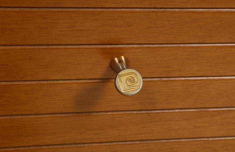 Pierre Cardin Sideboard Buffet Dresser Black Brown Wood Brass Detail 1980s-1990s For Sale 3