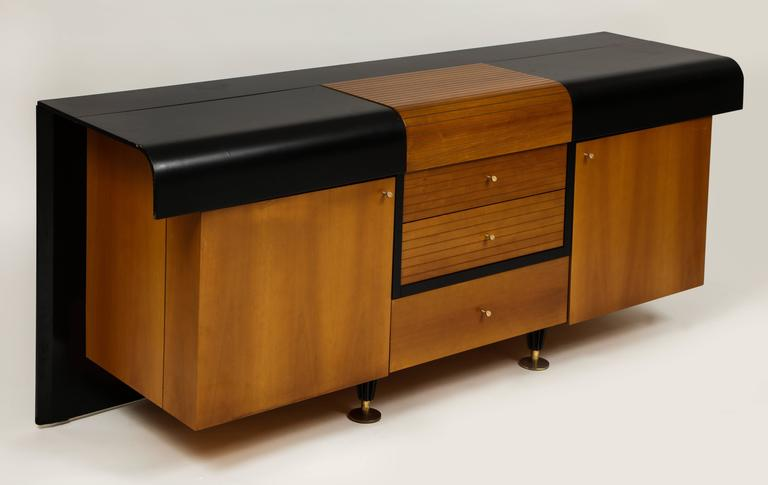 Mid-Century Modern Pierre Cardin Sideboard Buffet Dresser Black and Wood Brass Detail 1980s, 1990s For Sale