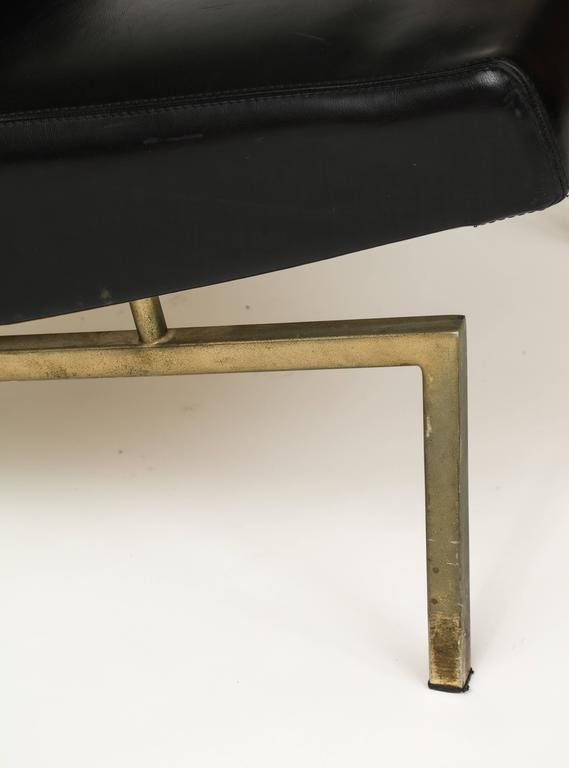 Mid-20th Century Joseph Andre Motte Black Tempo Pair Lounge Chairs Brass Mid-Century, France