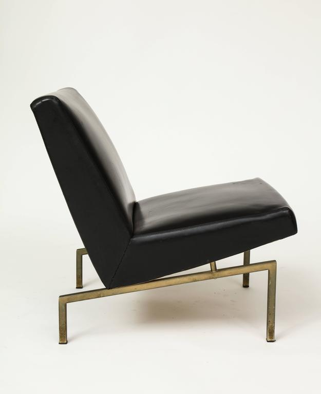 French Joseph Andre Motte Black Tempo Pair Lounge Chairs Brass Mid-Century, France