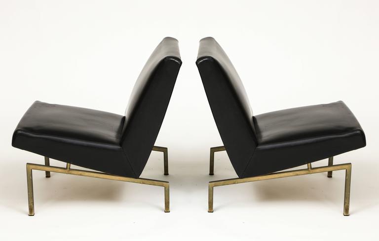 Mid-Century Modern Joseph Andre Motte Black Tempo Pair Lounge Chairs Brass Mid-Century, France