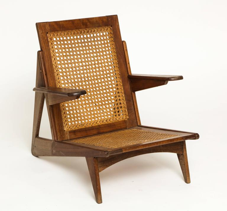 Mid Century Modern Cane Lounge Chair 1950 France Brazil Style Mid Century  For Sale