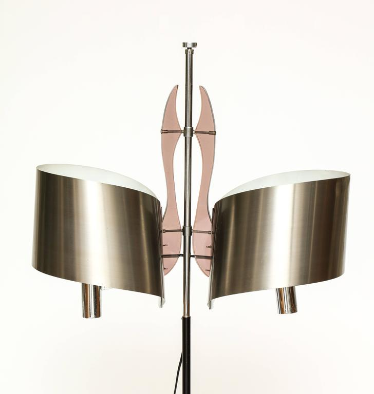 Maison Charles standing floor lamp with stainless steel shade, 1970s, France.