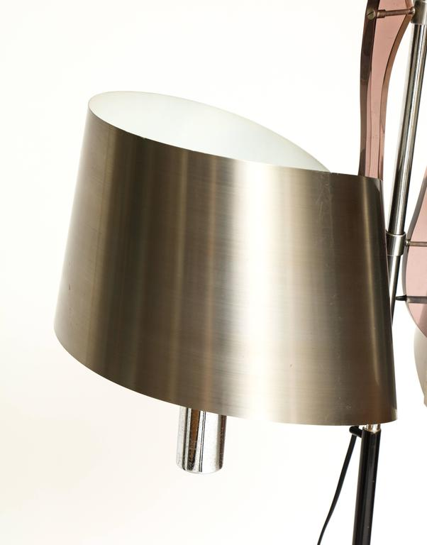 Maison Charles Standing Floor Lamp with Stainless Steele Shade, 1970s, France In Good Condition For Sale In New York, NY