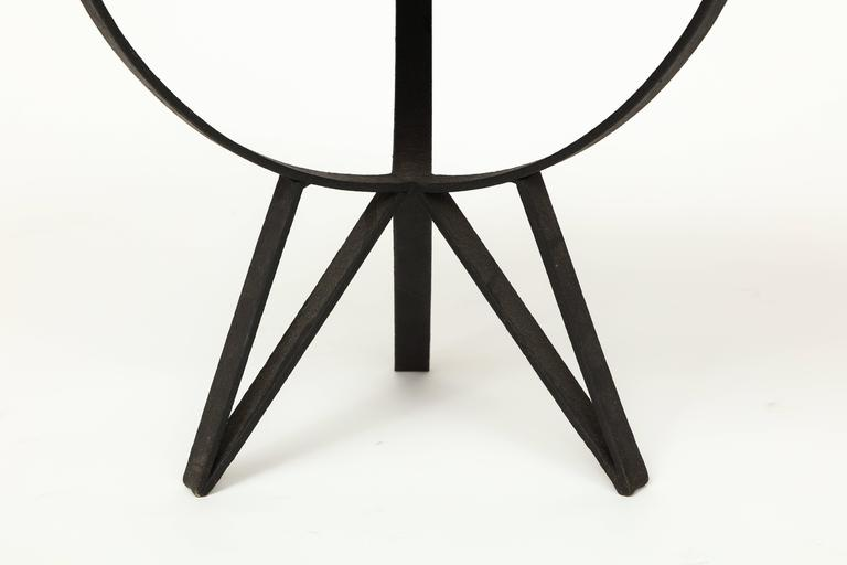 French deco wrought iron side table gueirdon mirrored top France, 1930, 1940s.  Beautiful deco tripod side table with lovely star like tripod legs. Iron in very nice condition with subtle grooves designed in the iron. New mirror on top. In the