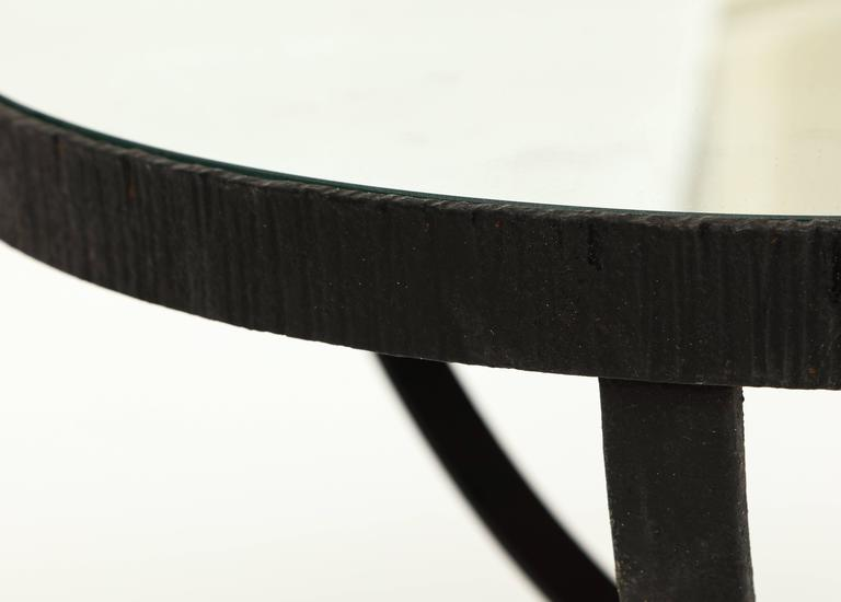 Art Deco French Deco Wrought Iron Side Table Gueirdon Mirrored Top France, 1930, 1940s For Sale