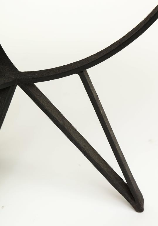 French Deco Wrought Iron Side Table Gueirdon Mirrored Top France, 1930, 1940s In Good Condition For Sale In New York, NY