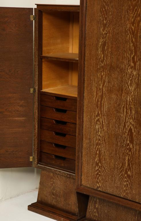Cerused Oak Sideboard Library Bookshelf Deco France, 1940, 1930 Mid-Century In Good Condition For Sale In New York, NY