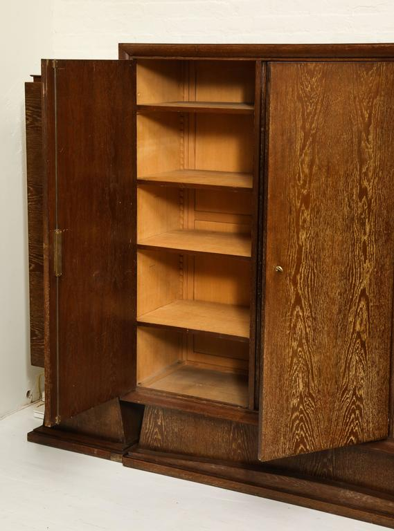 French Cerused Oak Sideboard Library Bookshelf Deco France, 1940, 1930 Mid-Century For Sale