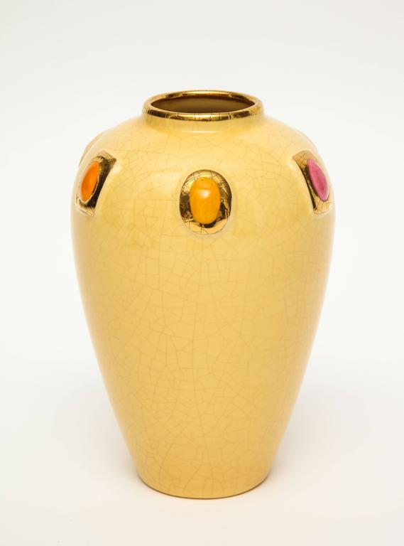 Longwy Pair Of Ceramic Vases Gold Enamel Encrusted Jewels France Mid