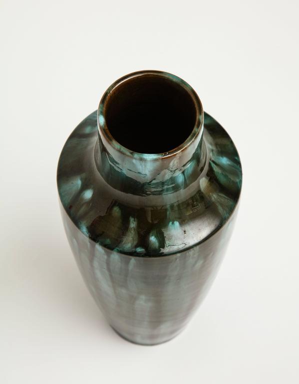 French Primavera Accolay Massier Ceramic Green Black Vases, France, 1930s Midcentury For Sale