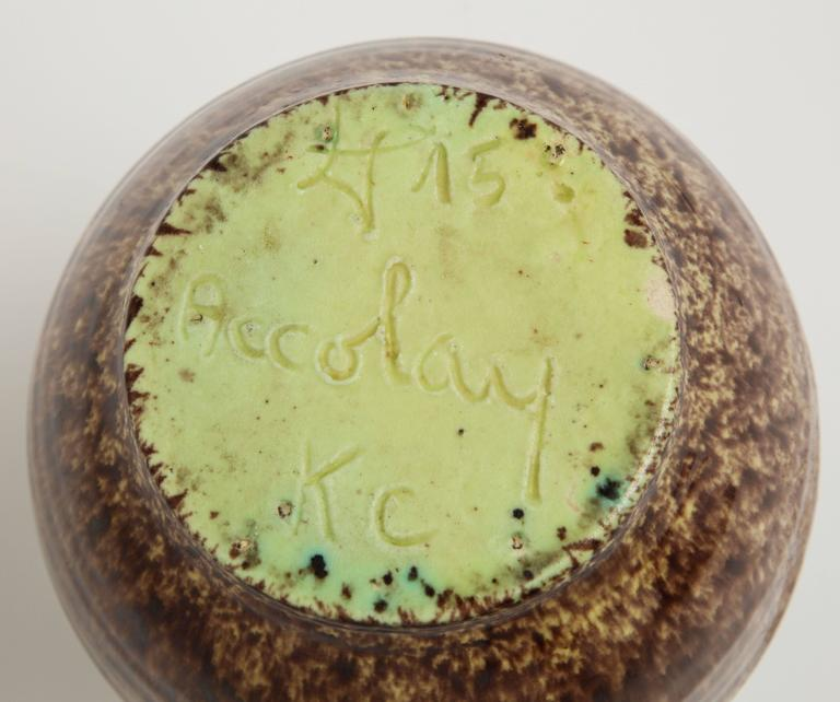 Primavera Accolay Massier Ceramic Green Black Vases, France, 1930s Midcentury For Sale 4