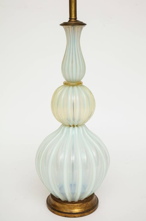 Marbro Murano Seguso opaline white blue Mid-Century monumental lamp 1950s-1960s  This is a beautiful opaline blue and gold very large lamp. Incredible workmanship. It measure 27 inches to the top of the glass and 43 inches to the top of the
