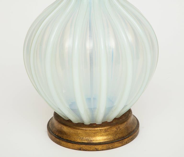 Mid-Century Modern Marbro Murano Opaline White Blue Mid-Century Monumental Lamp, 1940s-1950s For Sale