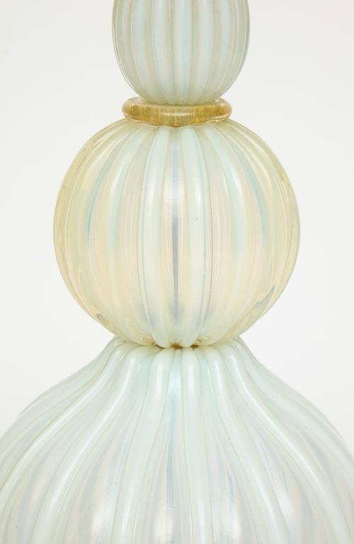 American Marbro Murano Opaline White Blue Mid-Century Monumental Lamp, 1940s-1950s For Sale