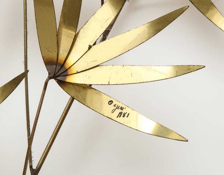 Mid-Century Modern Signed Curtis Jere Brass Flower Leaf Wall Sculpture 1960s, 1970s, 1980s For Sale