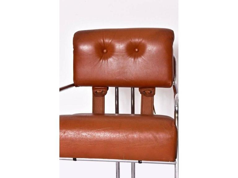 Marvelous Guido Faleschini Pair Of Cognac Leather Tucroma Chairs For Bralicious Painted Fabric Chair Ideas Braliciousco