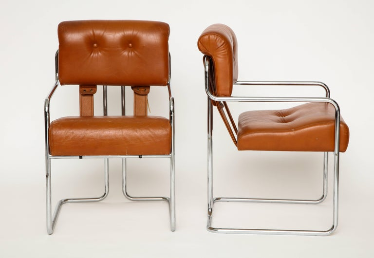 Tremendous Guido Faleschini Pair Of Cognac Leather Tucroma Chairs For Bralicious Painted Fabric Chair Ideas Braliciousco