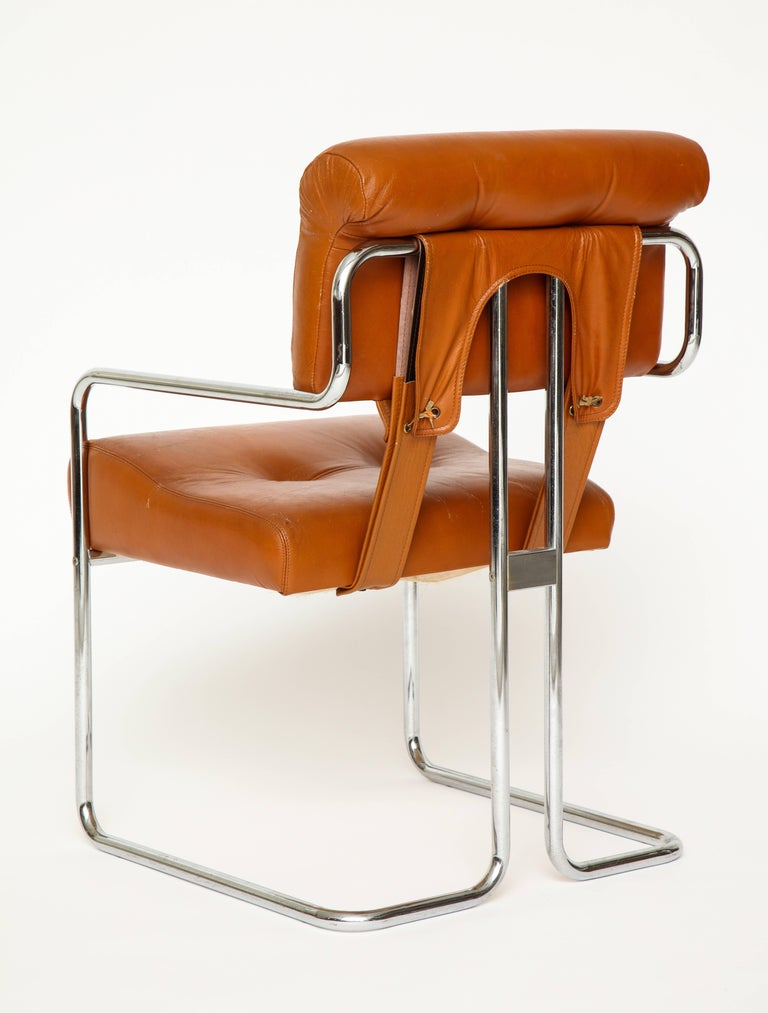 Pleasant Guido Faleschini Pair Of Cognac Leather Tucroma Chairs For Bralicious Painted Fabric Chair Ideas Braliciousco