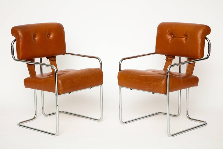 Cool Guido Faleschini Pair Of Cognac Leather Tucroma Chairs For Bralicious Painted Fabric Chair Ideas Braliciousco