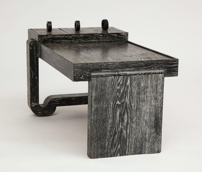 Francisque Chaleyssin cerused oak black white deco coffee table, 1940s-1950, France.  Sculptural modernist deco table by Francisque Chaleyssin. Lovely condition. Cerused oak. Rare.