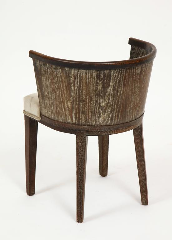 French Majorelle Six Grey Cerused Oak Barrel Chairs Art Deco, France, 1920s-1930s For Sale