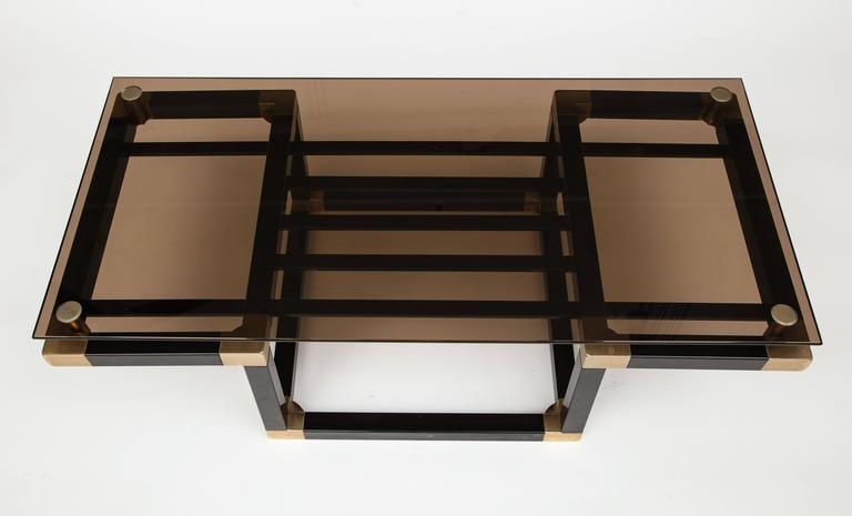 Mid-Century Modern Romeo Rega Metal Black Gold Coffee Table with Smoked Glass, Midcentury, 1980s For Sale