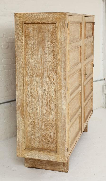 Jean Royere Deco Cerused Oak Cabinet France, 1940s, Mid-Century In Good Condition For Sale In New York, NY
