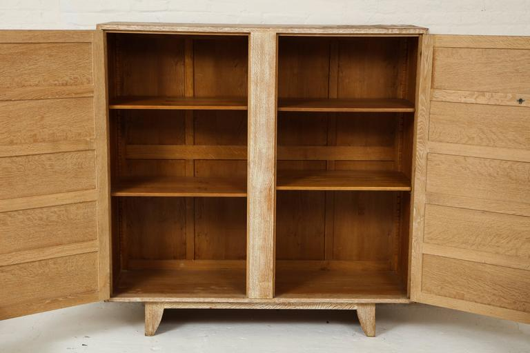 Mid-20th Century Jean Royere Deco Cerused Oak Cabinet France, 1940s, Mid-Century For Sale
