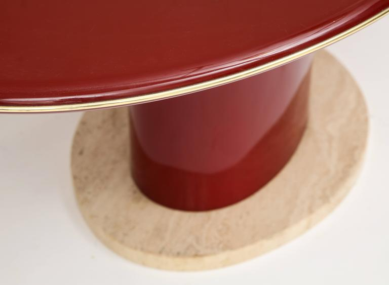Italian Red Wood Lacquer Dining Table, Desk, Travertine Base and Gold Trim, 1980s France For Sale