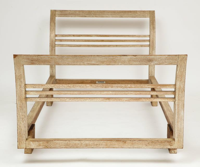 French Royere Gouffe Cerused Oak Daybed Deco, France, 1930s-1940s Mid-Century For Sale