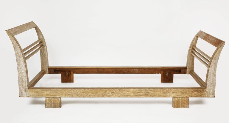 Art Deco Royere Gouffe Cerused Oak Daybed Deco, France, 1930s-1940s Mid-Century For Sale