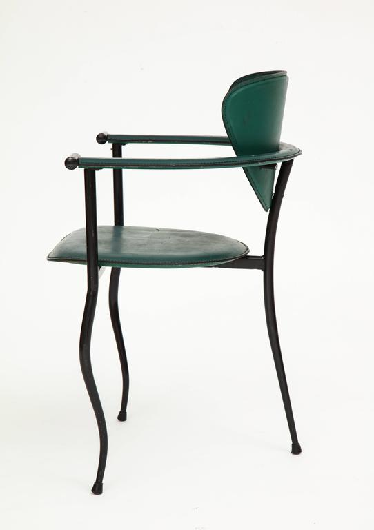 Postmodern Sculptural Green Leather and Iron Side Chairs, 1980s-1990s 5