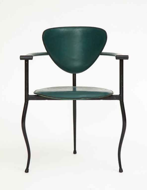 Italian Postmodern Sculptural Green Leather and Iron Side Chairs, 1980s-1990s For Sale