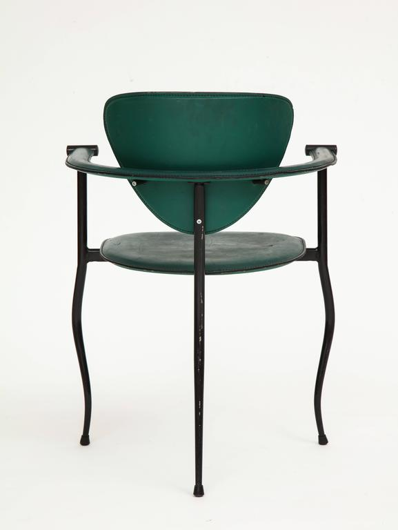 Late 20th Century Postmodern Sculptural Green Leather and Iron Side Chairs, 1980s-1990s For Sale